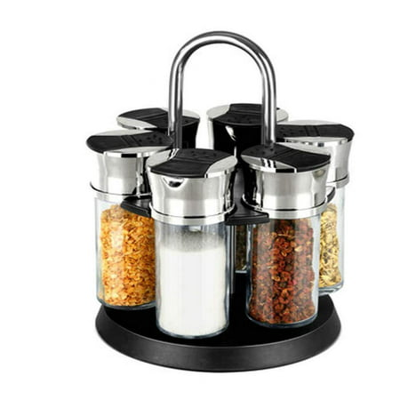 Gourmet Rotating Herb Spice Jar Rack 6pc Glass Bottles Black Shaker Top Lids - Space Saver & Keeps Spices Fresh