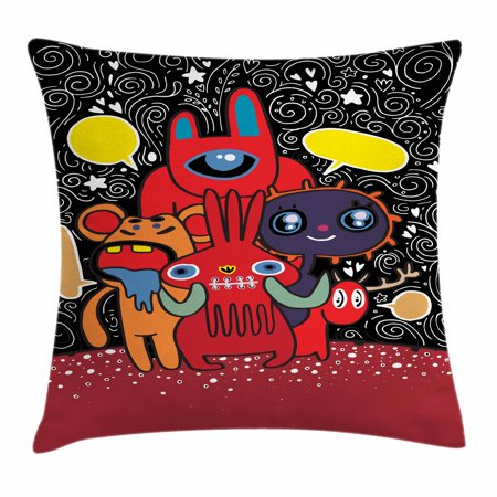 Indie Throw Pillow Cushion Cover, Monster City Theme Funny Characters with Speech Bubbles Floral Swirls Hearts Stars, Decorative Square Accent Pillow Case, 16 X 16 Inches, Multicolor, by Ambesonne - Monster Theme