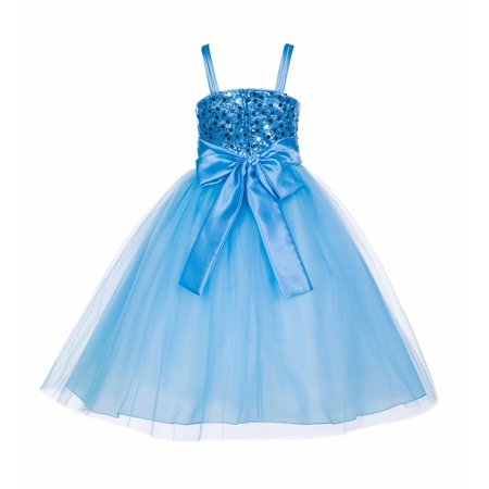 Ekidsbridal Spaghetti-Straps Sequin Tulle Flower Girl Dresses Elegant Stunning Formal Special Occasions Pageant Wedding Princess Party Birthday Recital Reception (Flower Girl Pageant Formal Dress)