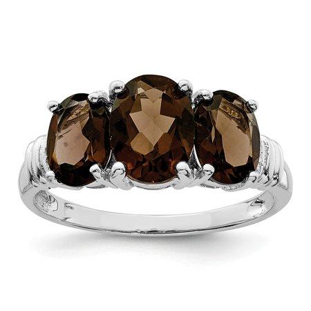 Sterling Silver 3 MM 3 Stone Smoky Quartz and Diamond Ring, Size 8 (Smokey Topaz Ring)