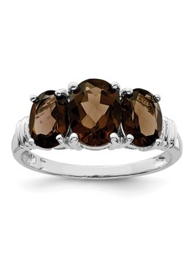Sterling Silver 3 MM 3 Stone Smoky Quartz and Diamond Ring, Size 8
