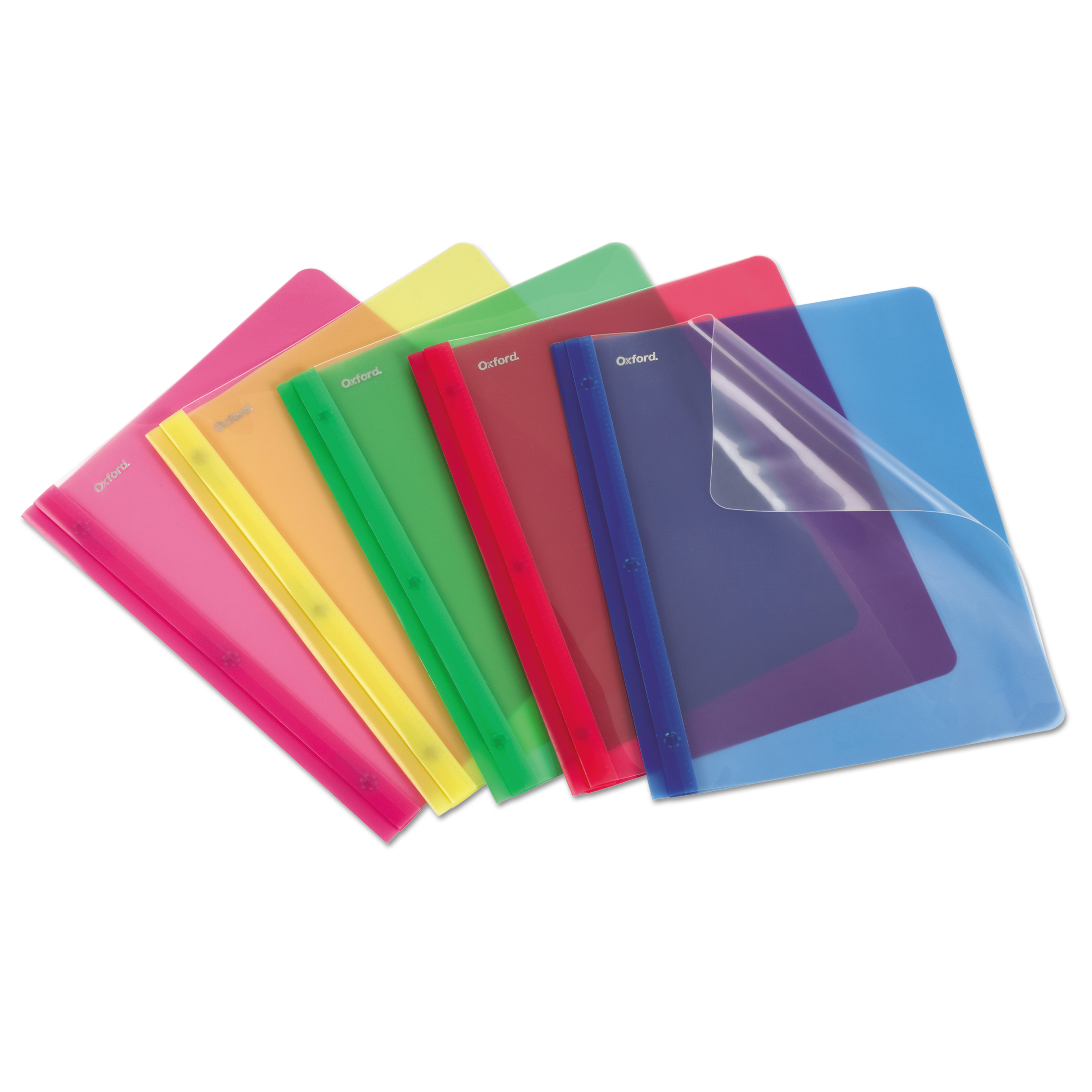 Oxford Translucent Poly Clear Front Report Cover, 3 Fastener, Letter,Assorted, 25/Box -OXF99812