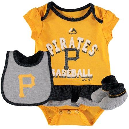 Girl Pirate Outfits (Pittsburgh Pirates Majestic Girls Newborn & Infant Wild Card Bib, Bootie & Bodysuit Set -)