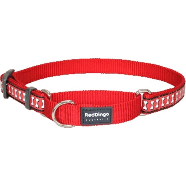 Red Dingo MC-RB-RE-ME Martingale Dog Collar Reflective Red, Medium