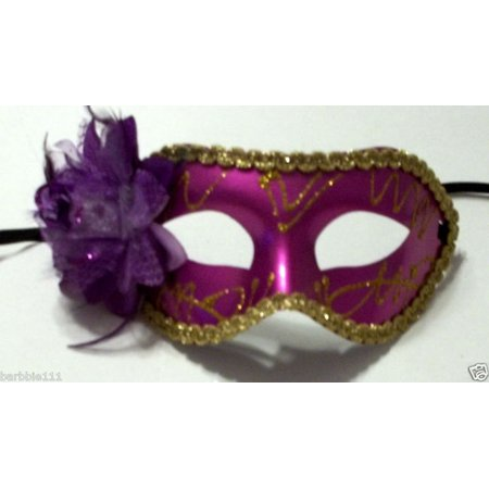 Dark Purple Rose Flower Masquerade Party Value Mardi Gras Halloween Mask - Vause Halloween