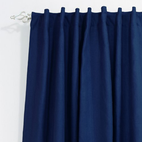 Brite Ideas Circa Solid Back Tab Curtain Panel - Navy