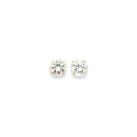 14k Yellow Gold 10mm Round Cubic Zirconia Cz Post Stud Earrings Gifts For Women For Her