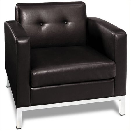 Wall Street Armchair, Espresso Faux Leather - Faux Leather Wall Street