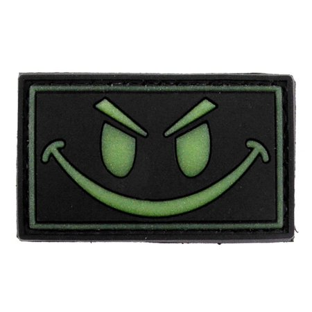 LIVABIT PVC Rubber 3D Morale Patch MP-15 Tactical Airsoft Paintball Black Glow In The Dark Smiley - Air Fill Smiley Face