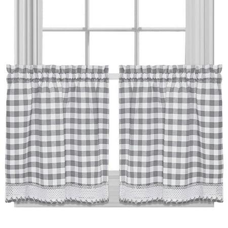 bed bath n more Buffalo Check Cotton Blend Grey Kitchen Curtain Tier Pair