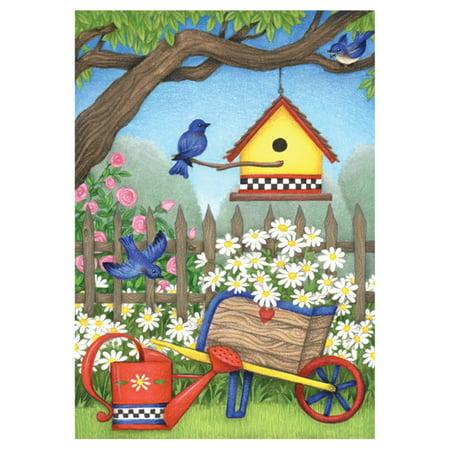 Birdhouse Flag (Toland Home Garden Birdhouse Daisies Flag)