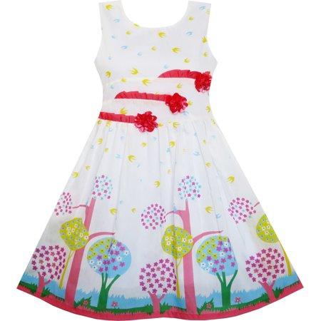 Sunny Fashion Girls Dress Sleeveless Tree Bird Flying Print Flower Red Size 4 12