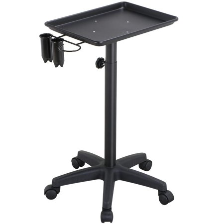 Yaheetech professional aluminum rolling salon instrument tray trolley w caddy black