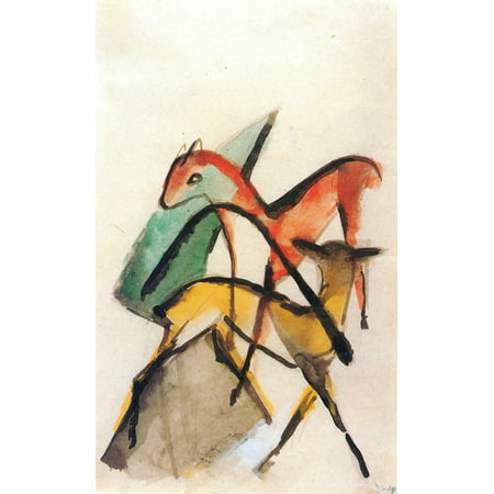 Franz Marc Deer (Framed Art for Your Wall Marc, Franz - Red and yellow deer 10 x 13 Frame )