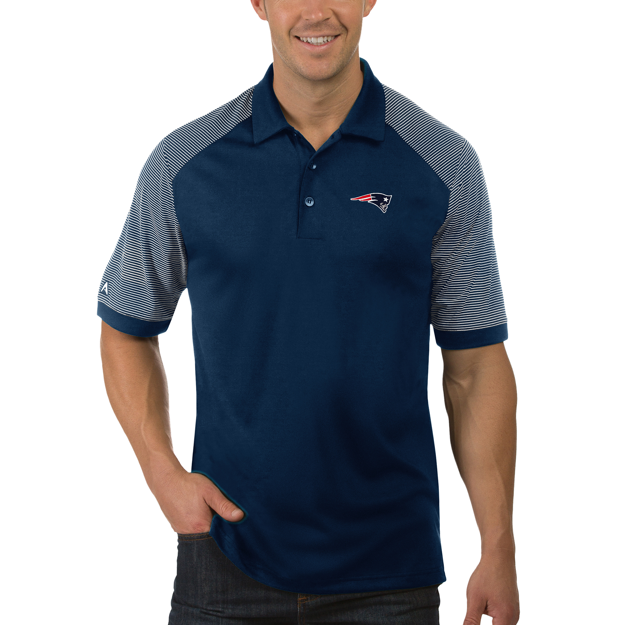 New England Patriots Antigua Desert Dry Engage Polo - Navy/White