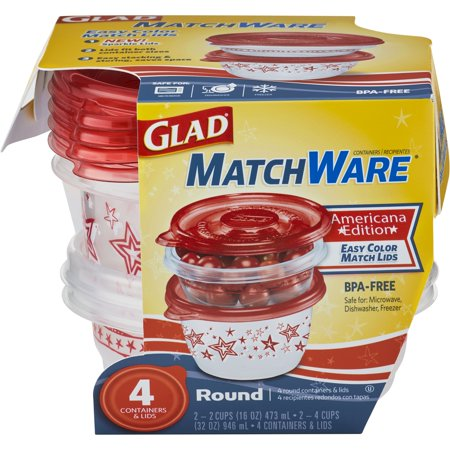 (2 pack) Glad Food Storage Containers, MatchWare Round, Two 16-oz, Two (Round 2 Store)