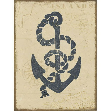 Buy Art For Less 'Nautical Map and Anchor' by Beth Albert Graphic Art Print on Wrapped Canvas (Buy Wall Maps)
