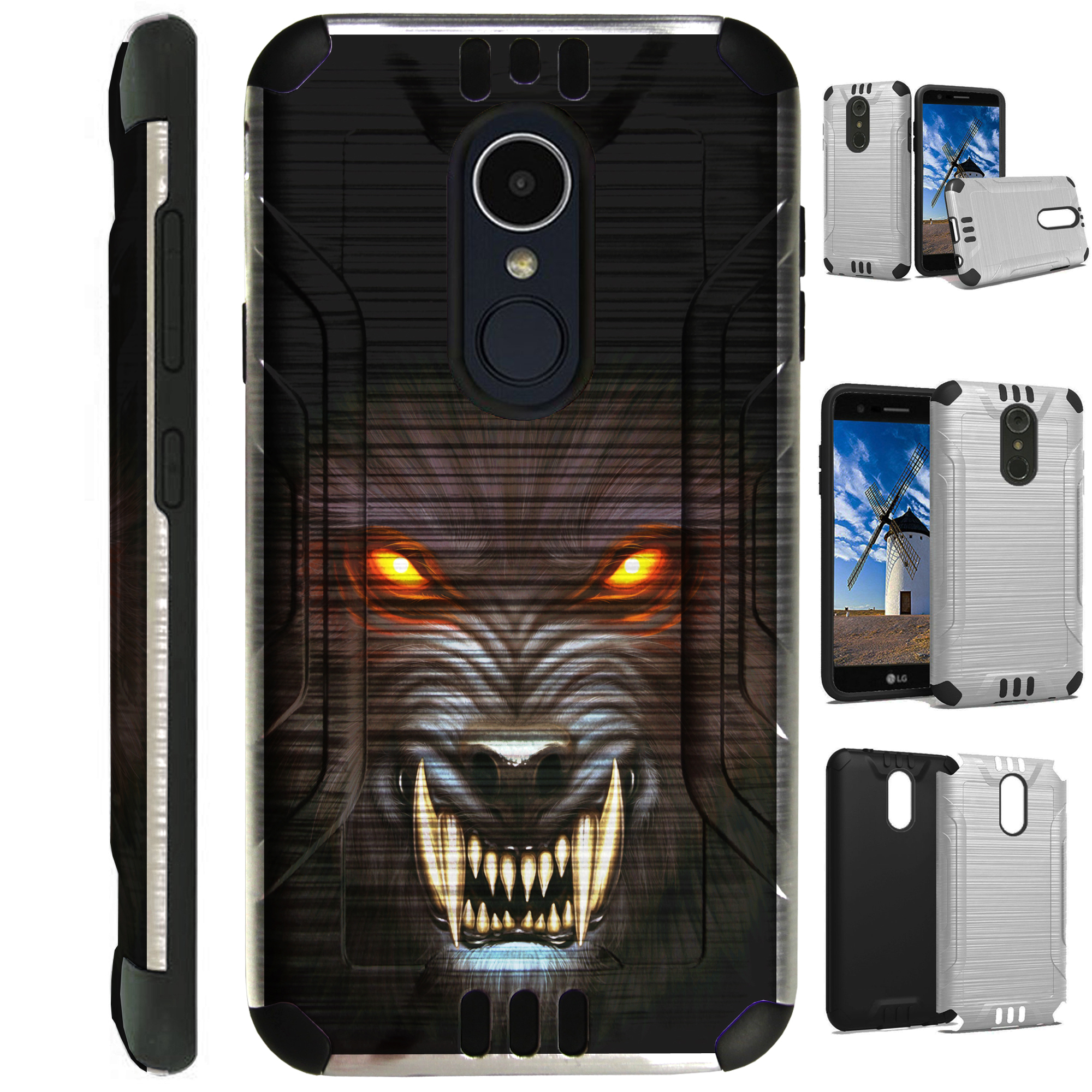 For LG Rebel 3 | LG Rebel 4 Case Brushed Metal Texture Hybrid TPU Silver Guard Phone Cover (Angry Werewolf)