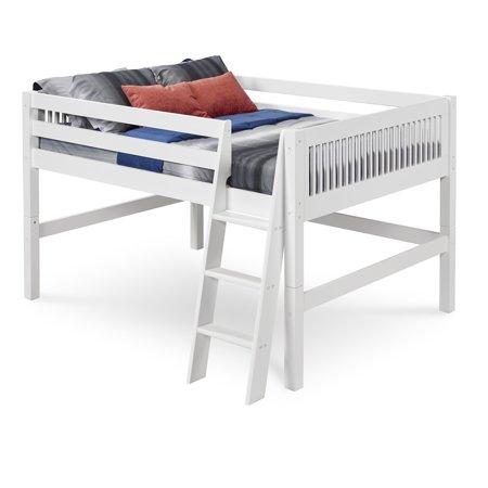 Camaflexi Full Size Low Loft Bed - Mission Headboard - White Finish