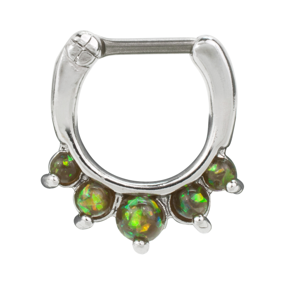 Bold Steel 16G 1.2mm Stainless Steel Created Opal Septum Clicker, MOSS GREEN, 1007-MGRN