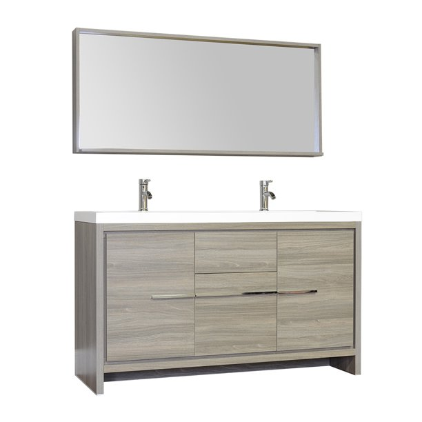 Ripley 57 Double Modern Bathroom Vanity Set In Gray With Mirror Walmart Com Walmart Com