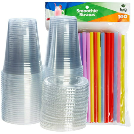 Comfy Package [100 Sets - 16 oz.] Plastic Cups With Flat Lids & Straws = 100 Clear Cups, 100 Flat Lids, 100 Smoothie - Plastic Cup With Straw