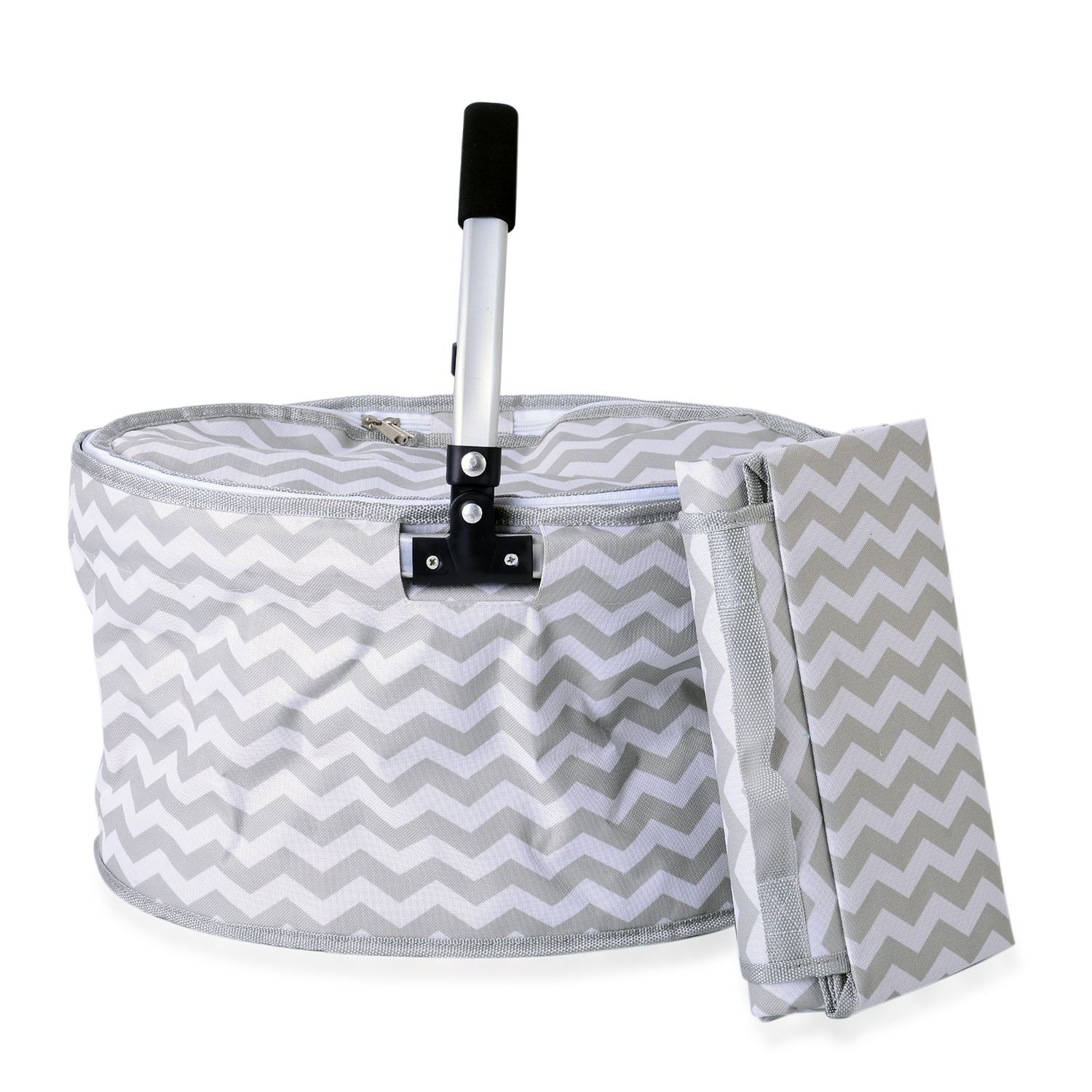 "White and Gray Polyester Printed Collapsible""sulation Picnic Basket Set of 2"