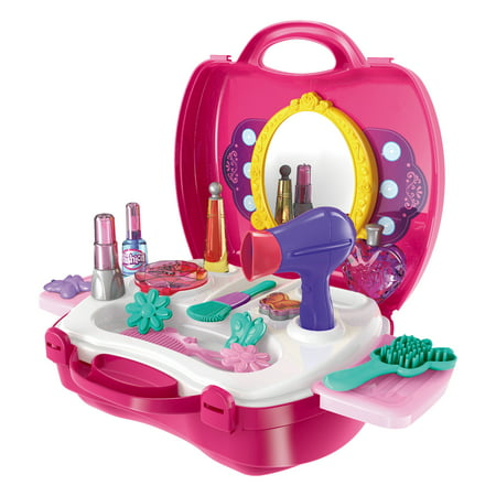 21 Pieces Makeup And Cosmetic Vanity Case, Durable Dress-Up Beauty Kit Hair Salon Playset For Girls, - Girl Face Makeup For Halloween