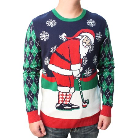 Ugly Christmas Sweater Men's Golfing Santa Pullover Sweatshirt ()