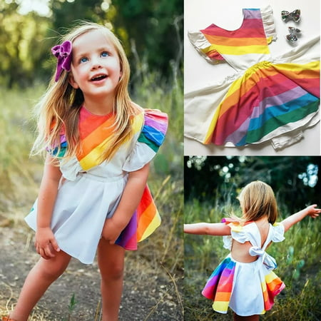 Toddler Kids Baby Girl Rainbow Romper Dress Princess Party Tutu Dresses - Baby Girl Rainbow Dress