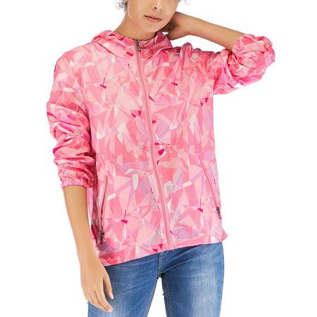 Women's Waterproof Raincoat Packable Hoodie Zip Up Jackets Colorblock Long Sleeve Sweatshirt Top Athletic Coat Jacket Outwear ()