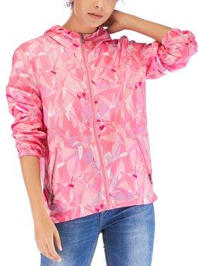 Women's Waterproof Raincoat Packable Hoodie Zip Up Jackets Colorblock Long Sleeve Sweatshirt Top Athletic Coat Jacket Outwear