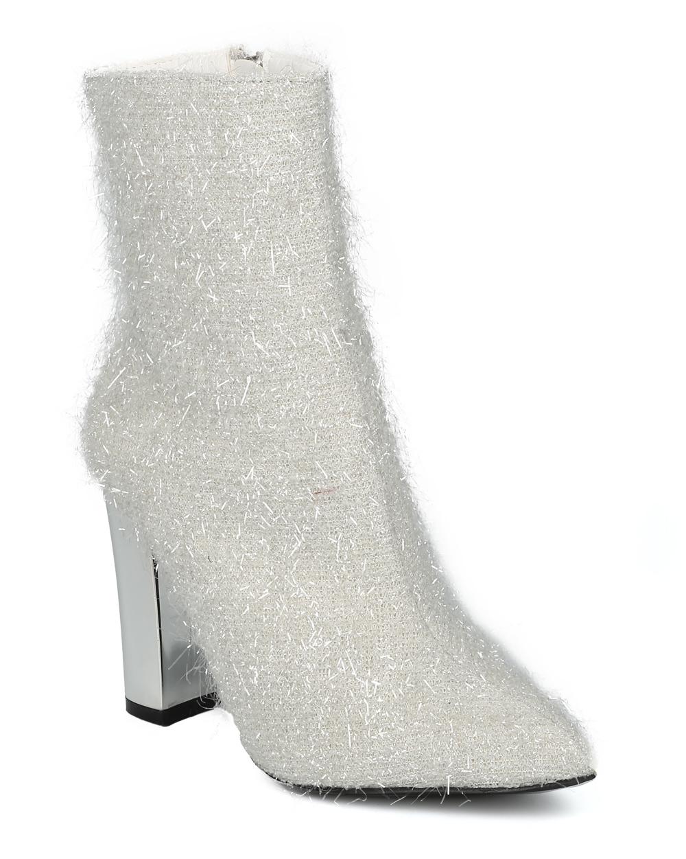 Women Fuzzy Tinsel Pointy Toe Metallic Block Heel Bootie HF51