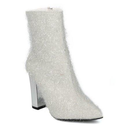 New Women Cape Robbin Beautiful-27 Tinsel Pointy Toe Metallic Block Heel - Beautiful Communion Shoes