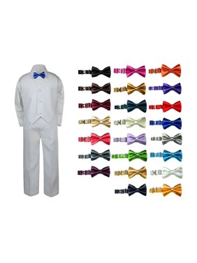 4pc White Toddler Boy Wedding Formal Party Suit Vest set Satin Bow tie Sm-7