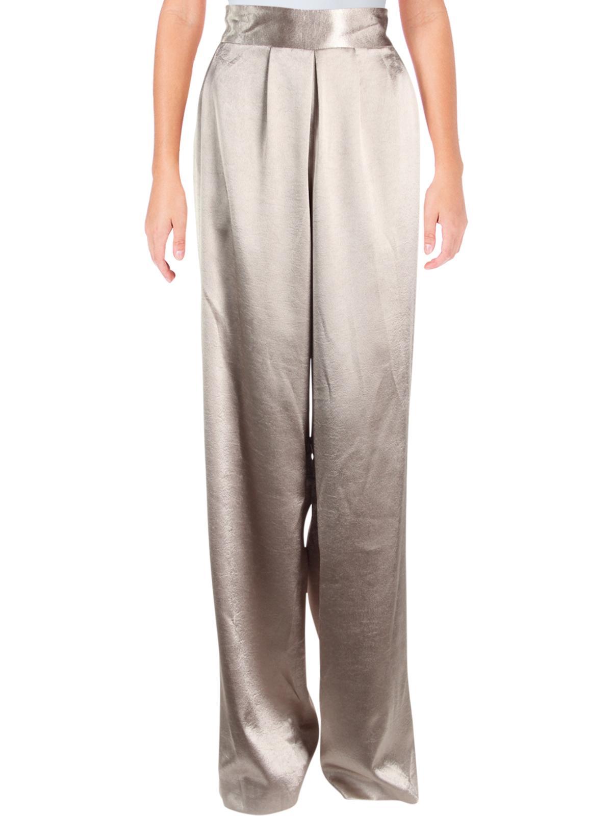 Ramy Brook Womens Iris Satin Pleated Dress Pants