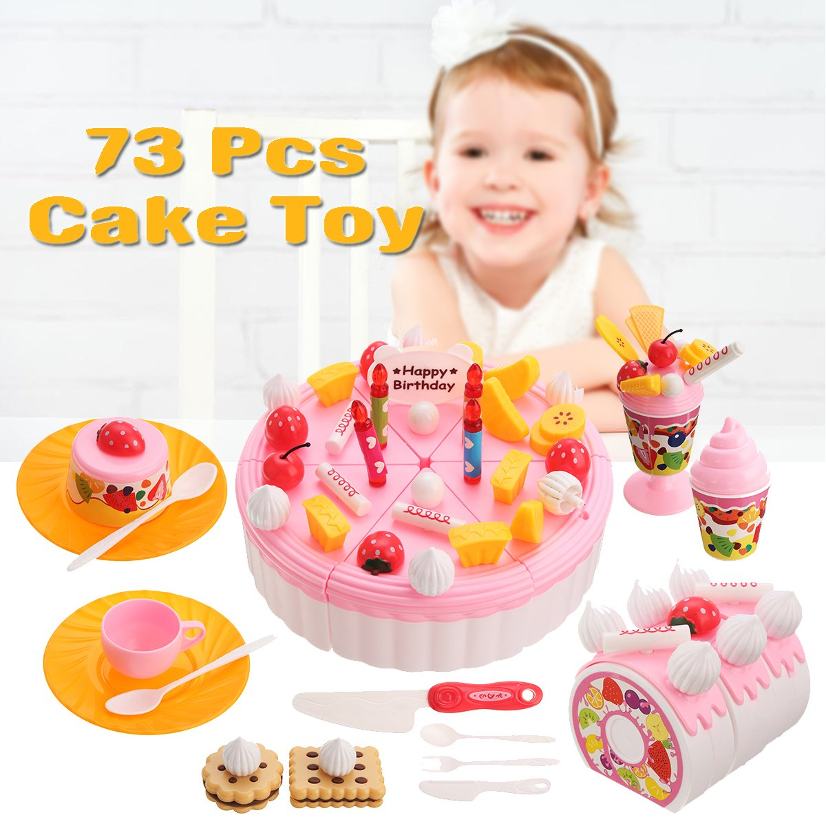 Surprising 73 Pcs Kitchen Cutting Cake Toy Birthday Cake Pretend Play Food Personalised Birthday Cards Veneteletsinfo