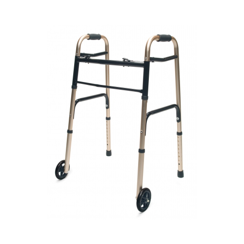 """Lumex 716270G-1 Everyday Walker with 5"""" Wheels, Dual Release, Gold"""