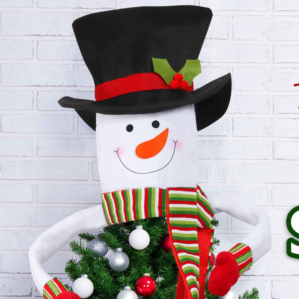 Akoyovwerve Snowman Christmas Tree Topper Cloth Snowman ...