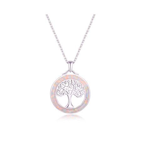 - 18K White Gold Plated Fire Opal Tree Of Life Pendant Necklace
