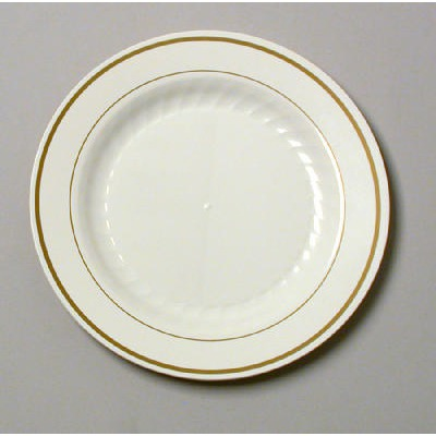 Masterpiece Plastic Plates, 7 1/2 In, Ivory W/gold Accents, Round, 10/pack WN...
