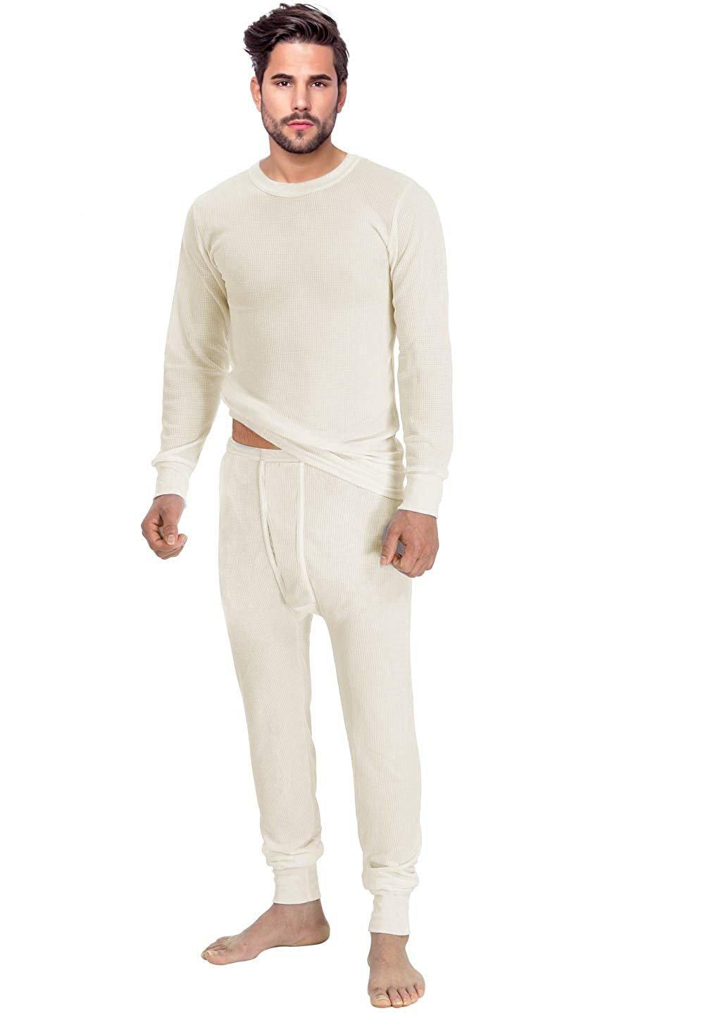 Rocky Men's Thermal 2pc Set Long John Underwear Ultra Soft waffle X-Large Natural