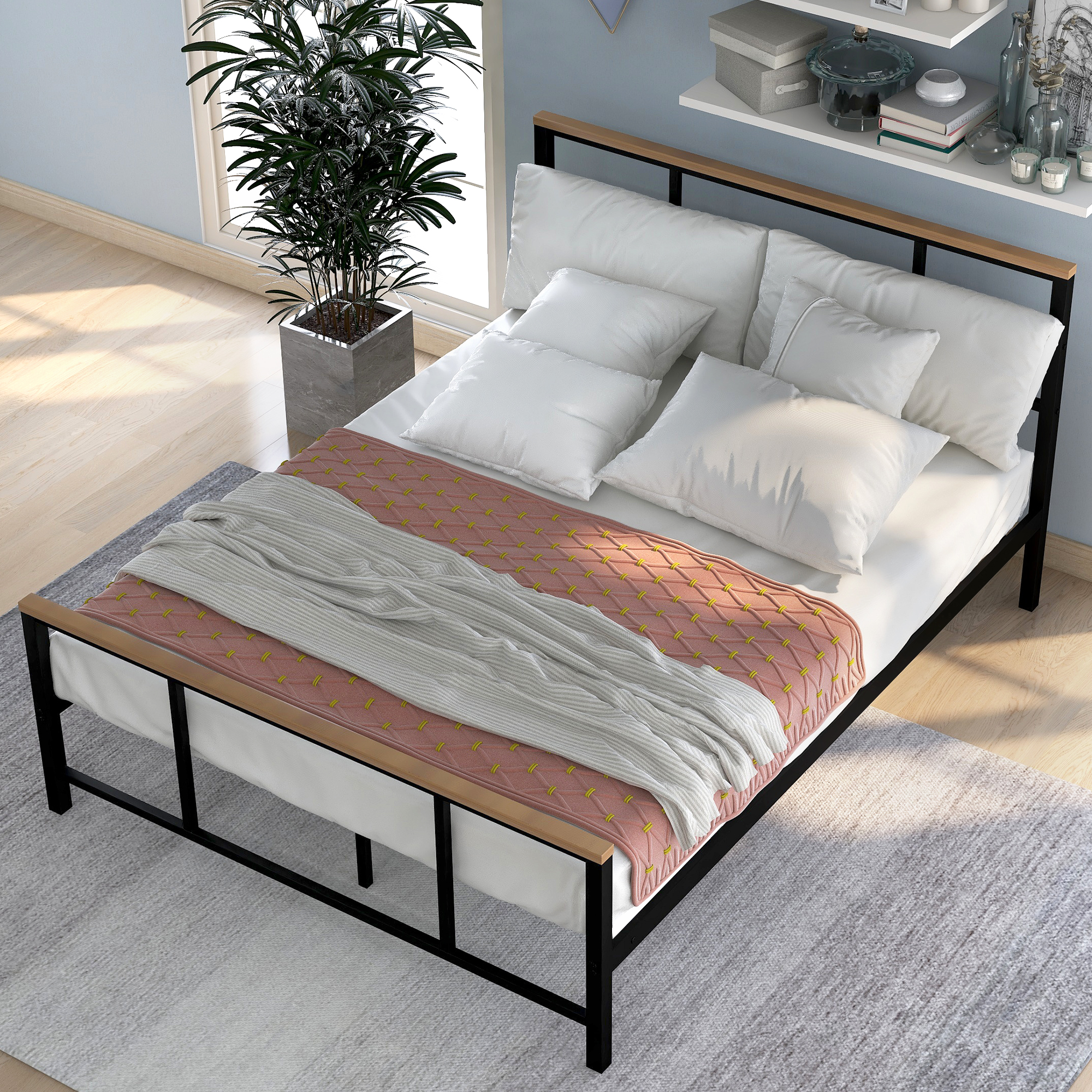 Diy Bathroom Shelf Ideas, Clearance Full Size Metal Bed Frame No Box Spring Needed Metal Bed Frame With Wood Headboard Platform Bed Frame Full Size W Footboard 11 Bed Slats Noise Free Easy Assembly 330lbs S2038