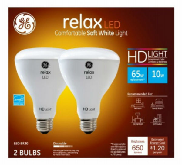 G E Lighting 4 Packs GE 2PK10W BR30 LED Bulb