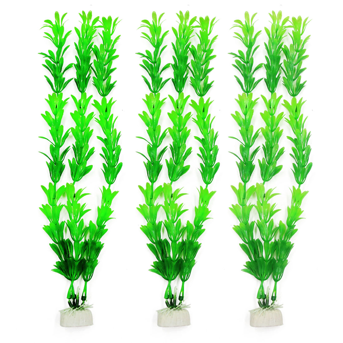 "12.2"" Green Plastic Water Plants for Fish Aquarium 3 Pcs"