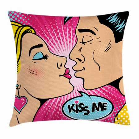 Kiss Me Throw Pillow Cushion Cover, Young Couple Kissing Pop Art Style Vintage Drawing with Halftone Circles Backdrop, Decorative Square Accent Pillow Case, 18 X 18 Inches, Multicolor, by Ambesonne - Pop Art Halloween Couple