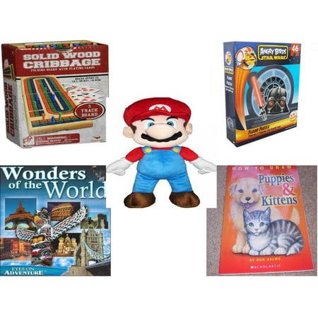 Children's Gift Bundle [5 Piece] -  Solid Wood Folding Cribbage Set  - Angry Birds Star Wars 3 Foot 46 Piece Floor  - Nintendo Super Mario Large  Pillow Buddy  22