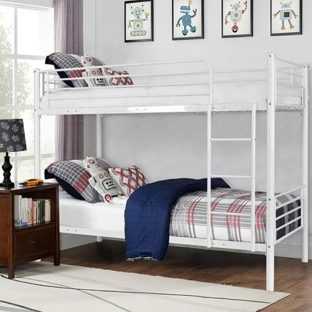 Costway Metal Twin Over Twin Bunk Beds Ladder Kids Teens Dorm Bedroom White - image 8 de 8