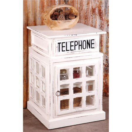 Sunset Trading Shabby Chic Cottage English Phone Booth End Table