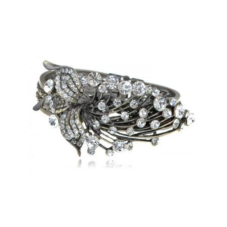(Antique-Inspired Golden-tone Metal Flower Leaf Rhinestone Bracelet Bangle Cuff)